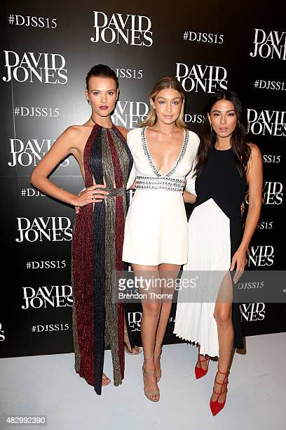 Models Montana Cox Gigi Hadid and Jessica Gomes arrive ahead of the David Jones Spring/Summer 2015 Fashion Launch at David Jones Elizabeth Street...