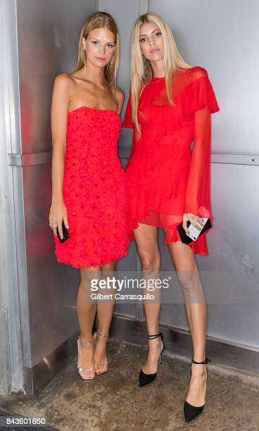 Models Nadine Leopold and Devon Windsor arrive to Pamella Roland Spring 2018 Collection Show during New York Fashion Week at Pier 59 on September 6...