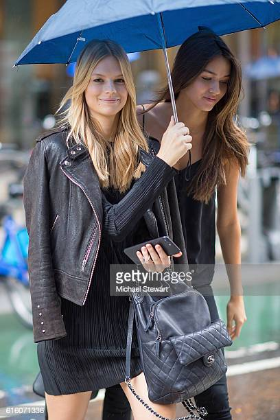 Models Nadine Leopold and Gabby Westbrook attend the 2016 Victoria's Secret Fashion Show castings on October 21 2016 in New York City