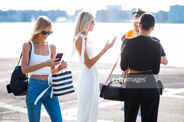 Models Nadine Leopold Devon Windsor and Shanina Shaik are seen in Chelsea on August 26 2017 in New York City