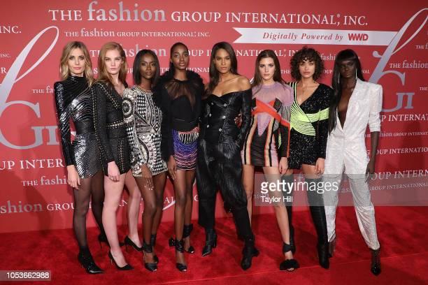 Models Nadja Bender Alexina Graham Riley Montana Tami Williams Cindy Bruna Valery Kaufman Alanna Arrington and Duckie Thot attend Fashion Group...