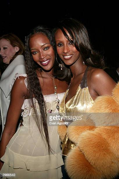 Models Naomi Campbell and Iman attend the Louis Vuitton 150th Anniversary party and store opening celebration February 10 2004 in New York City