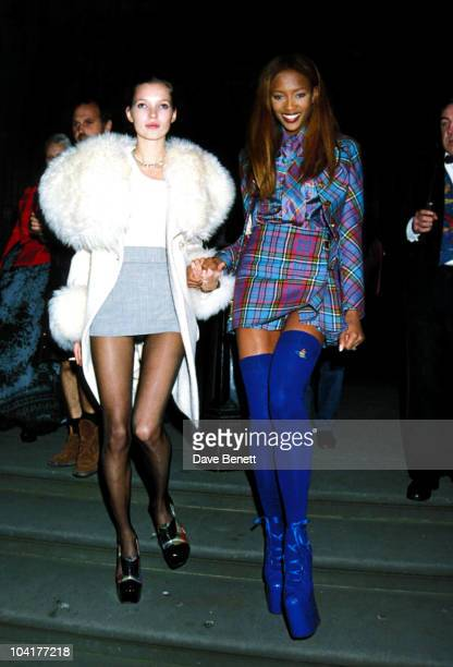 Models Naomi Campbell and Kate Moss attend the Designer of the Year Awards at the Natural History Museum during London Fashion Week 19th October 1993