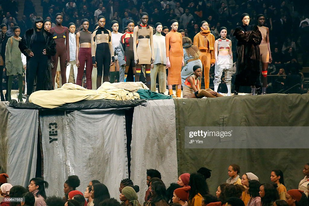 Models Naomi Campbell (L) and Veronica Webb appear onstage during Kanye West Yeezy Season 3 on February 11, 2016 in New York City.