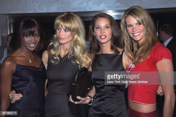 Models Naomi Campbell Claudia Schiffer Christie Turlington and Elle Macpherson investors in the Fashion Cafe get together at a party at the cafe