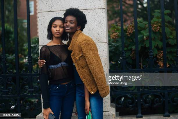 Models Naomi Chin Wing Imari Karanja after the Tory Burch show during New York Fashion Week Spring/Summer 2019 on September 7 2018 in New York City...