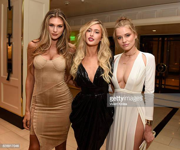 Models Natalie Pack Gemma Vence and Tanya Mityushina attend Ruffino Wine Presents The Los Angeles Premiere Of 'Mothers And Daughters' at The London...
