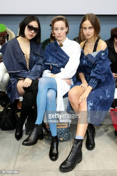 Models Natasha Lau Elliott Sailors and Elena Carriere attend the Gemma Hoi front row during New York Fashion Week The Shows at MercedesBenz Manhattan...