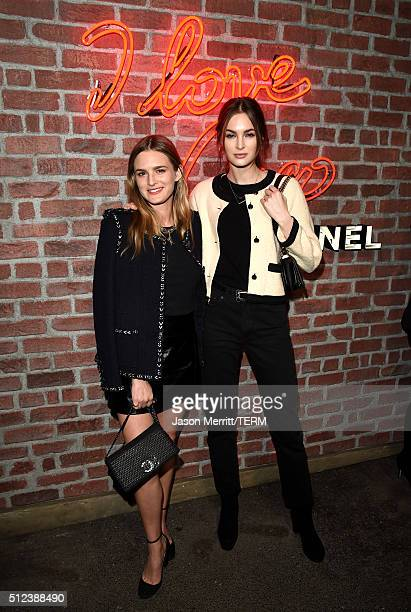 Models Nathalie Love and Laura Love attend the I Love Coco Backstage Beauty Lounge at Chateau Marmont's Bar Marmont on February 25 2016 in Hollywood...