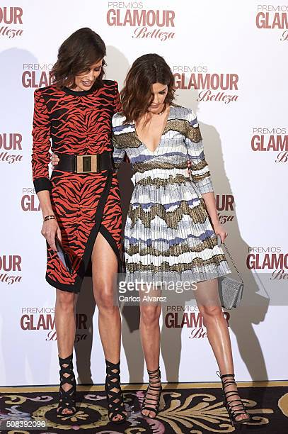 Models Nieves Alvarez and Hanneli Mustaparta attend the 'Glamour Beauty' awards at the Ritz Hotel on February 4 2016 in Madrid Spain