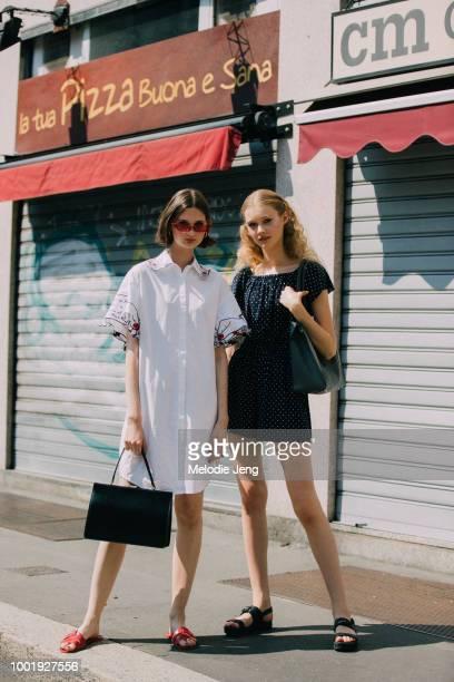 Models Nika Sykala Margarita Smitaite after the Daks show during Milan Men's Fashion Week Spring/Summer 2019 on June 17 2018 in Milan Italy Nika...