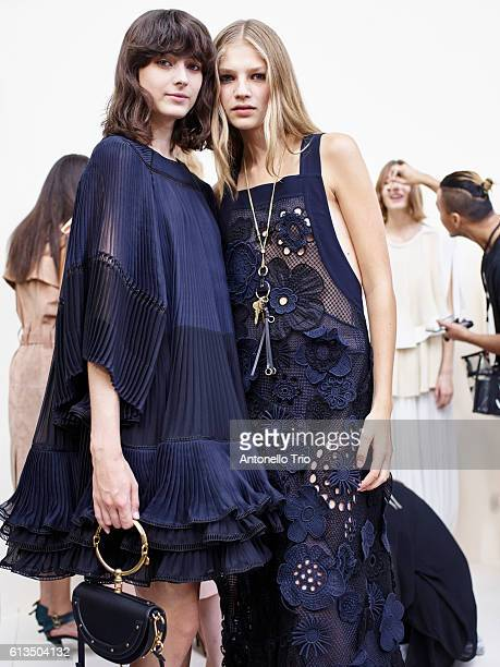 Models Nike Praesto and Deirdre poses prior the Chloe show as part of the Paris Fashion Week Womenswear Spring/Summer 2017 on September 29 2016 in...