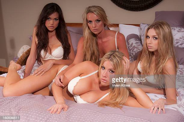 Models Nikki Haroldson Emily Ketzel Stefanie Blase and Chelsey Iacopucci pose for portraits at Stefanie Blase From The Award Winning Reality Show...