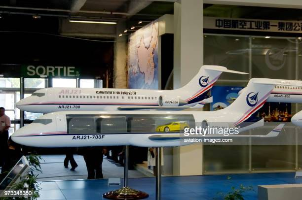 models of ARJ21700F freighter and ARJ21700 on the AVIC 1 exhibitionstand at the 2005 Paris AirShow SalonduBourget