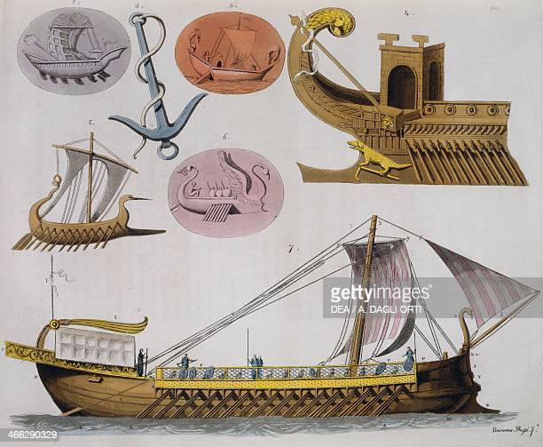 Models of boats of ancient Greece 1827 engraving from the opera costume ancient and modern Giulio Ferrario 19th century