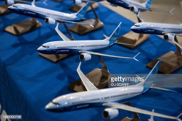 Models of Boeing 737 aircraft are pictured in the Boeing Sheffield factory the aerospace company's first manufacturing facility in Europe in...