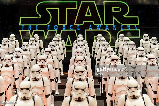 100 models of Imperial storntroopers from Star Wars are displayed at UNIQLO flagship store on January 19 2016 in Shanghai China
