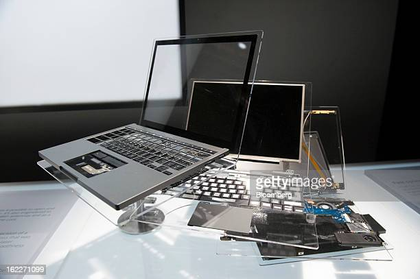 Models of the new Google Inc Chromebook Pixel laptop are displayed during a launch event in San Francisco California US on Thursday Feb 21 2013...