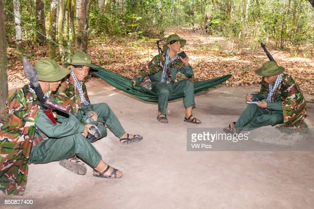 Models of Vietnamese soldiers at Ben Dinh Cu Chi near Ho Chi Minh City Vietnam