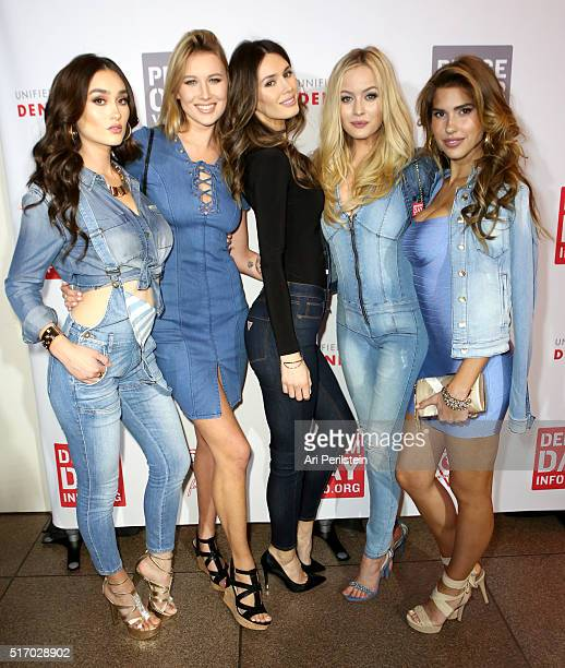 Models Olga Caro Kristina Schlesinger Tika Camaj Simone Holtznagel and Kara Del Toro attend the GUESS Foundation and Peace Over Violence Denim Day...