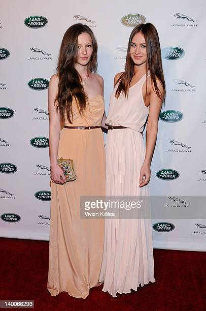 Models Olga Shkanakina and Sveta Kafafova attend Hans Zimmer's Oscar Party Hosted By Southern California Jaguar Land Rover on February 26 2012 in...
