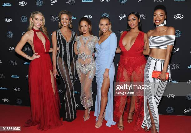 Models Olivia Jordan Allie Ayers Haley Kalil Camille Kostek Tabria Majors and Iyonna Fairbanks attends Sports Illustrated Swimsuit 2018 Launch Event...