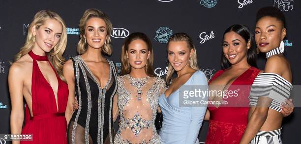 Models Olivia Jordan Allie Ayers Haley Kalil Camille Koste Tabria Majors and Iyonna Fairbanks attend the 2018 Sports Illustrated Swimsuit Issue...