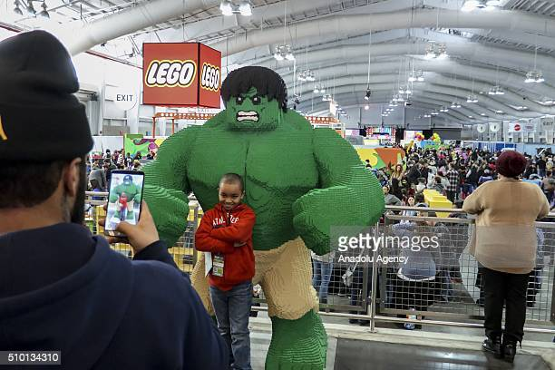 Models on display at New York's Javits Center on February 13 during the 113rd Annual American International Toy Fair New York 2016 starting on...