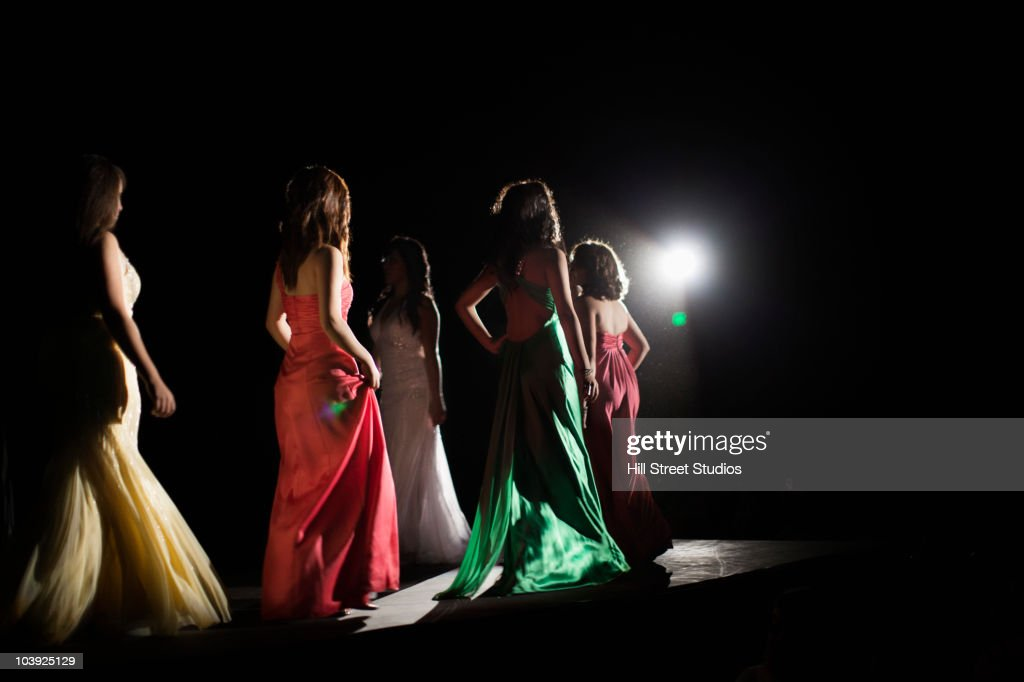 Models on fashion runway : Stock Photo