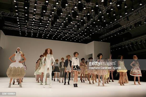 Models on the catwalk at the Alexander McQueen SpringSummer 2005 readytowear fashion collection during the Paris Fashion Week