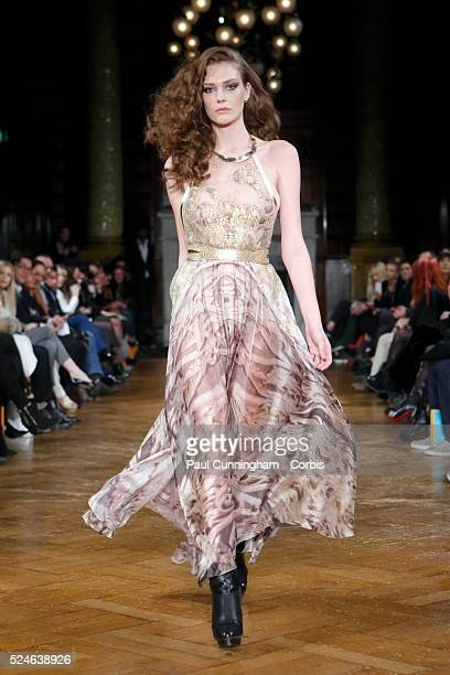 Models on the catwalk at the Kristian Aadnevik fashion show during London Fashion Week AW 2014 The Royal Horseguards London 16 February 2014 Image by...