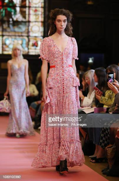 Models on the catwalk during Ryan Lo show London Fashion Week September 2018 at Stationers Hall