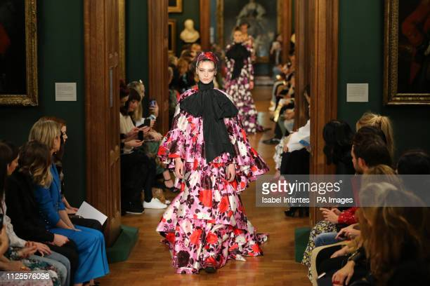Models on the catwalk during the Erdem Autumn/Winter 2019 London Fashion Week show at The National Portrait Gallery London