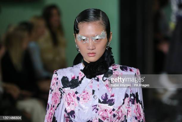 Models on the catwalk during the Erdem show at the London Fashion Week February 2020 show at The National Portrait Gallery in London. PA Photo.