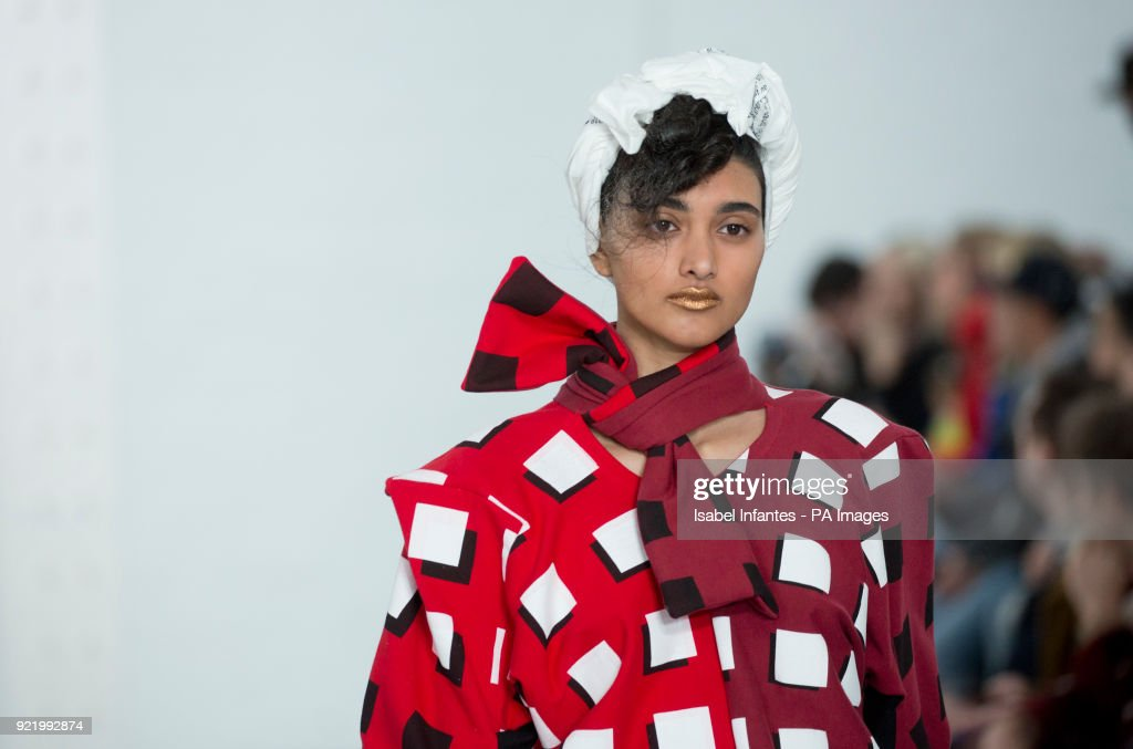 Models on the catwalk during the Fashion East by Symonds Pearmain Autumn/Winter 2018 London Fashion Week show at the Topshop Showspace, London. PRESS ASSOCIATION. Picture date: Sunday February 18, 2018. Photo credit should read: Isabel Infantes/PA Wire