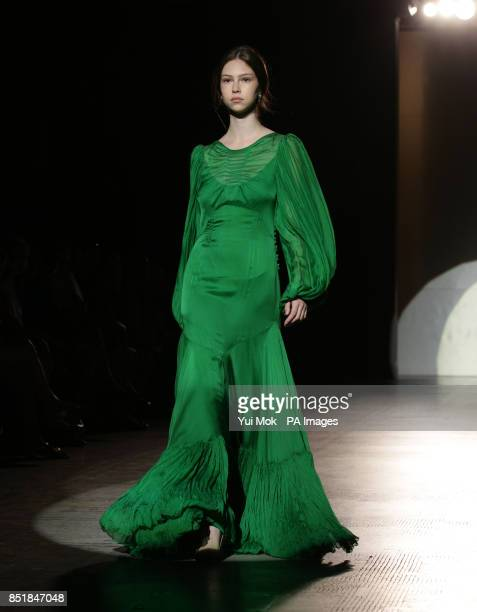 Models on the catwalk during the Jenny Packham Fashion in Motion show to celebrate the designer's 25 years in business by showcasing the highlights...