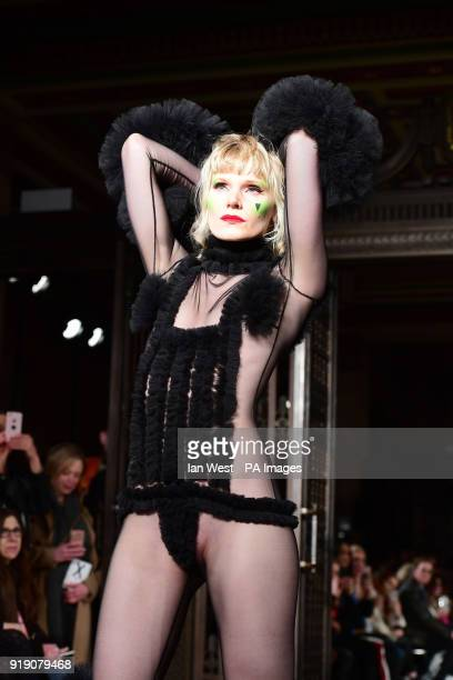 Models on the catwalk during the Pam Hogg Autumn/Winter 2018 London Fashion Week show at Freemason's Hall London