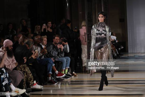Models on the catwalk during the Rocky Star Autumn/Winter 2019 London Fashion Week show at Freemasons' Hall London