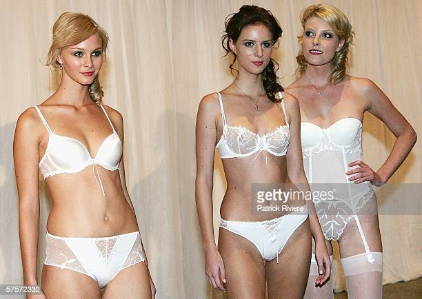 Models on the catwalk during the Simone Perele Lingerie Fashion Show at the David Jones Park Terrace Restaurant on May 9 2006 in Sydney Australia