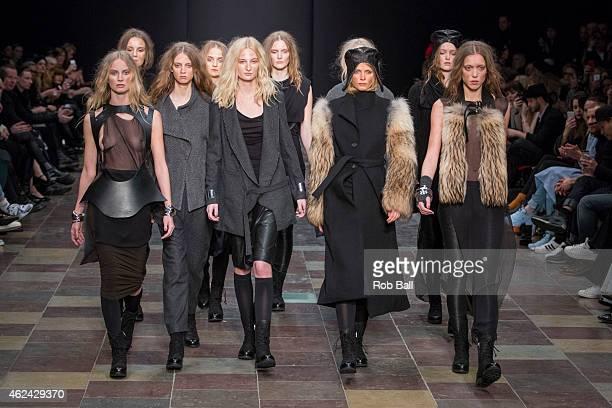 Models on the catwalk for designer Maikel Tawadros during Copenhagen Fashion Week Autumn/Winter 2015 on January 28 2015 in Copenhagen Denmark