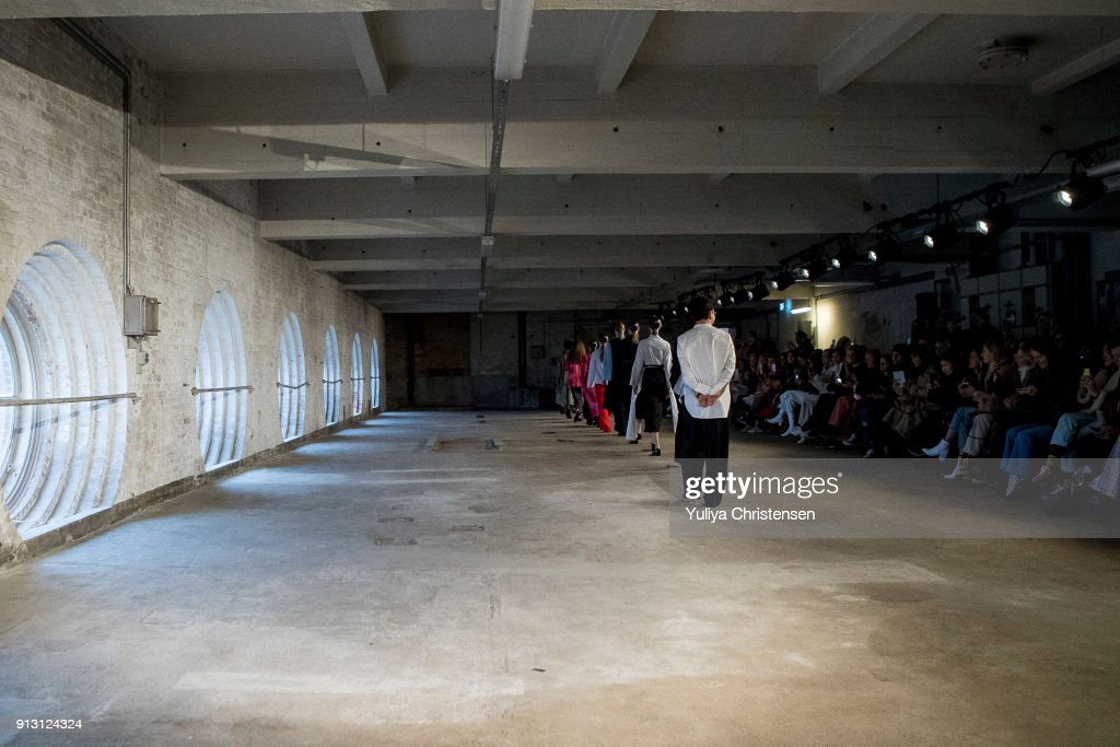 Models on the catwalk for designer Mark Kenly Domino Tan during the Copenhagen Fashion Week Autumn/Winter 18 on February 1, 2018 in Copenhagen, Denmark.
