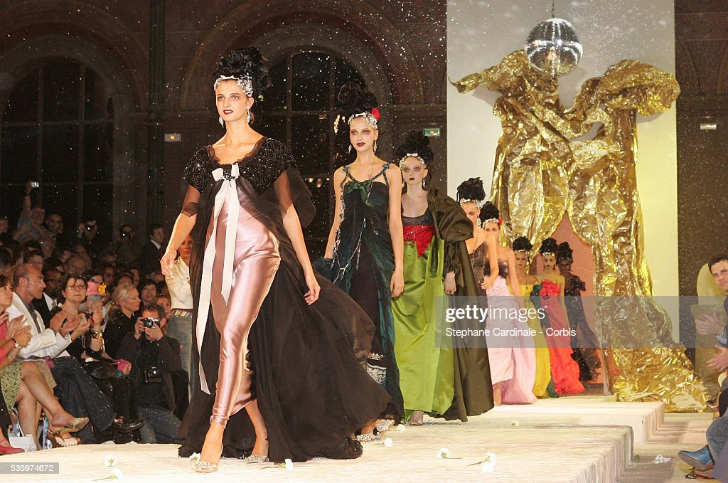 Models on the catwalk presenting the latest outfits from the Christian Lacroix 'Haute Couture' Fall/Winter 2005-2006 fashion collection.