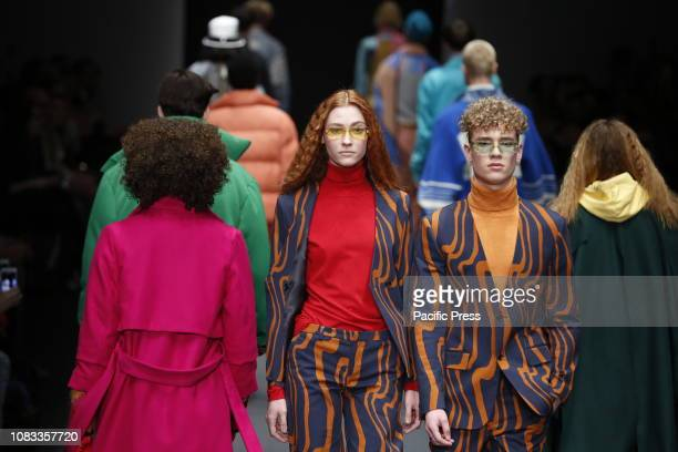 Models on the catwalk with the Autumn / Winter 2019/20 collection of the designer Neonyt at Mercedes Benz Fashion Week in Berlin at the E-Werk in...