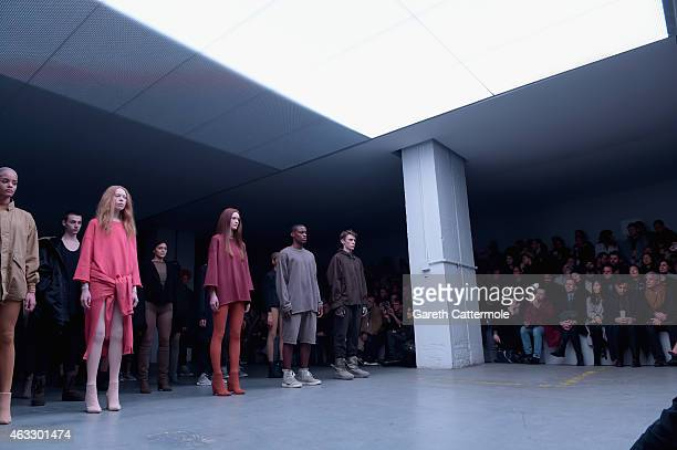 Models on the runway at the adidas Originals x Kanye West YEEZY SEASON 1 fashion show during New York Fashion Week Fall 2015 at Skylight Clarkson Sq...