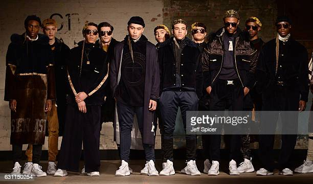 Models on the runway at the Astrid Andersen show during London Fashion Week Men's January 2017 collections at Topman Show Space on January 7 2017 in...