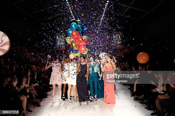 Models on the runway at the end of the 'Key Looks The Show' Presented By Fashion ID show during the MercedesBenz Fashion Week Berlin Autumn/Winter...