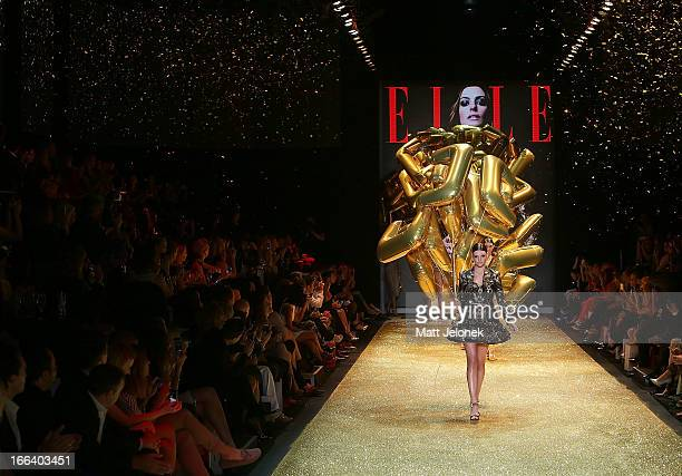 Models on the runway at the Hello Elle Australia show during Mercedes-Benz Fashion Week Australia Spring/Summer 2013/14 at Carriageworks on April 12,...