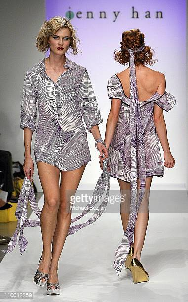 Models on the runway at the Jenny Han Spring 2008 fashion show during the Mercedes Benz Fashion Week at Smashbox Studios on October 16 2007 in Culver...
