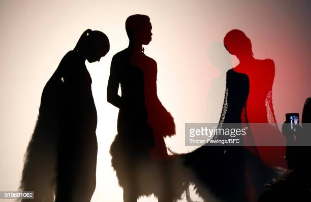 Models on the runway at the Mark Fast presentation during London Fashion Week February 2018 at 180 The Strand on February 18 2018 in London England