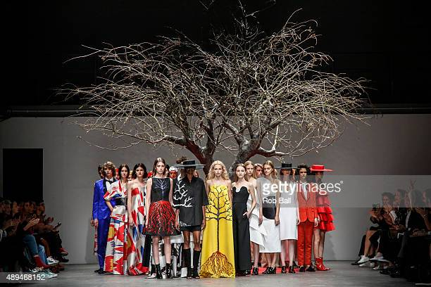 Models on the runway at the OSMAN show during London Fashion Week Spring/Summer 2016/17 on September 21 2015 in London England